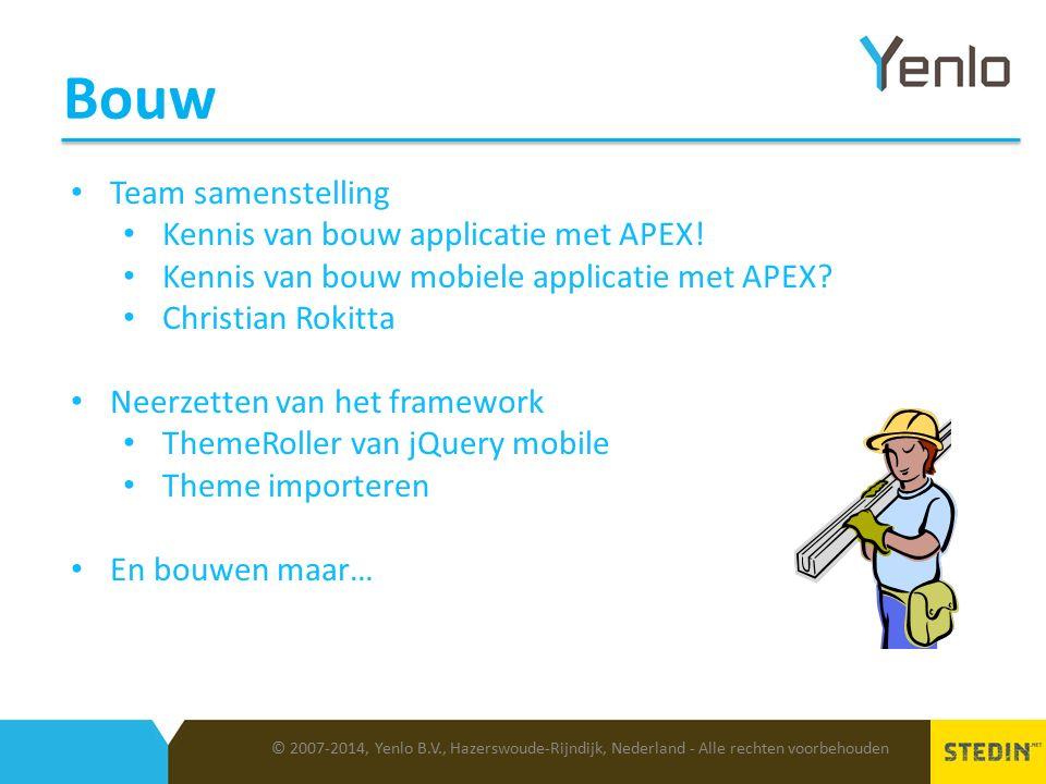 Bouw © 2007-2014, Yenlo B.V., Hazerswoude-Rijndijk, Nederland - Alle rechten voorbehouden Team samenstelling Kennis van bouw applicatie met APEX.