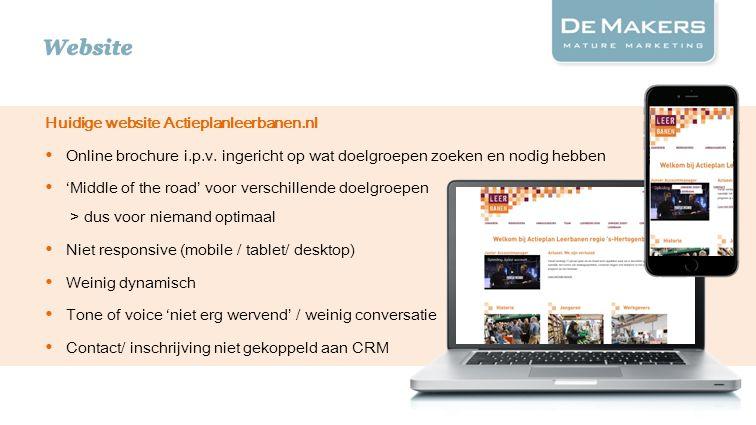 Huidige website Actieplanleerbanen.nl Online brochure i.p.v. ingericht op wat doelgroepen zoeken en nodig hebben 'Middle of the road' voor verschillen