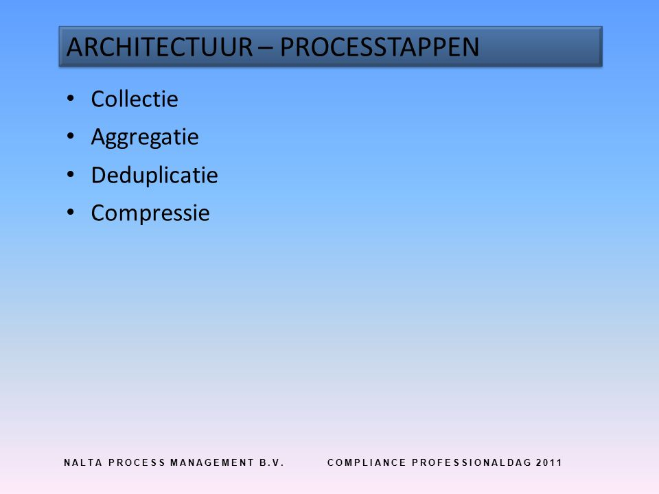 NALTA PROCESS MANAGEMENT B.V.COMPLIANCE PROFESSIONALDAG 2011 ARCHITECTUUR – PROCESSTAPPEN Collectie Aggregatie Deduplicatie Compressie