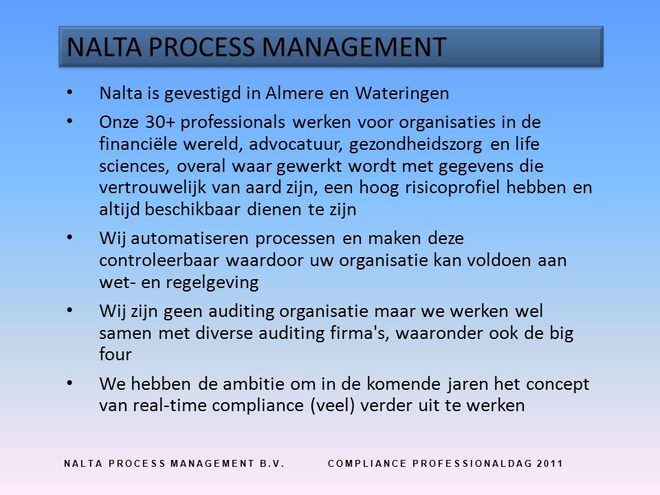 REAL-TIME COMPLIANCE ARCHITECTUUR