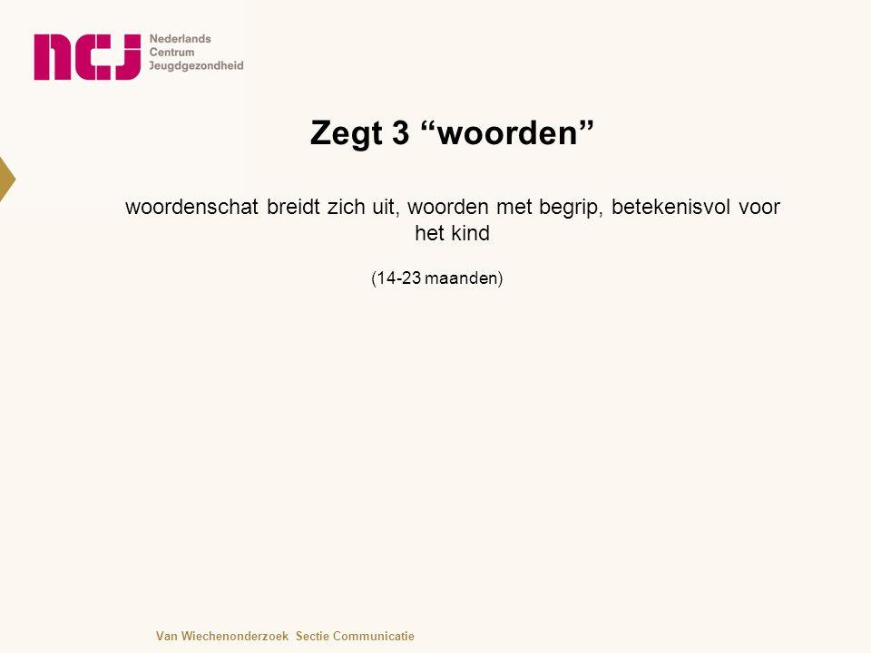 Zegt 3 woorden woordenschat breidt zich uit, woorden met begrip, betekenisvol voor het kind (14-23 maanden) Van Wiechenonderzoek Sectie Communicatie