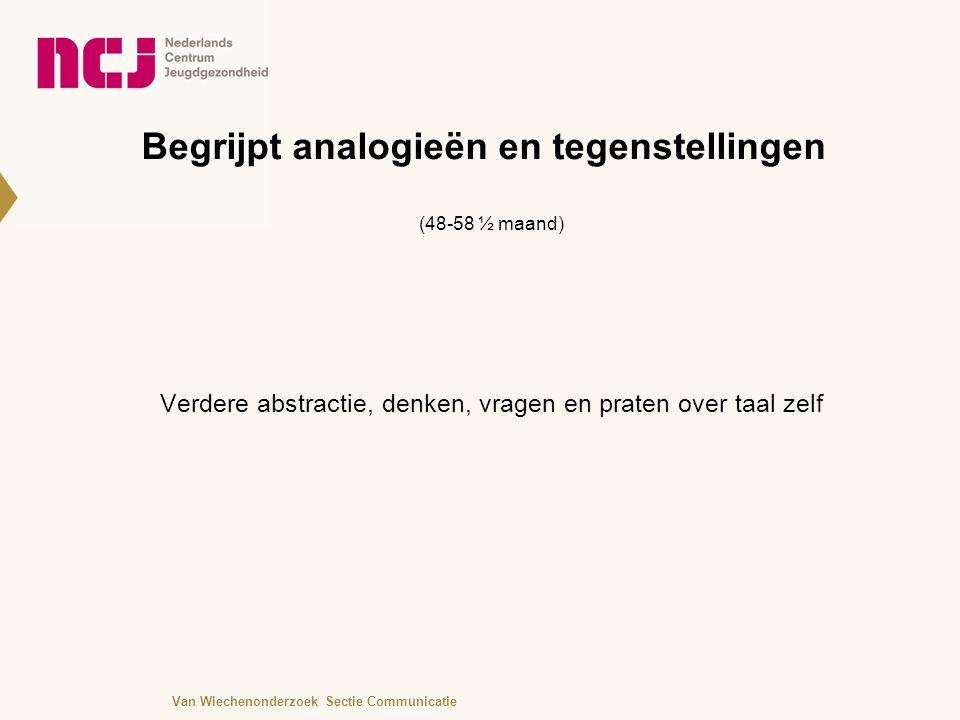 Begrijpt analogieën en tegenstellingen (48-58 ½ maand) Verdere abstractie, denken, vragen en praten over taal zelf Van Wiechenonderzoek Sectie Communicatie