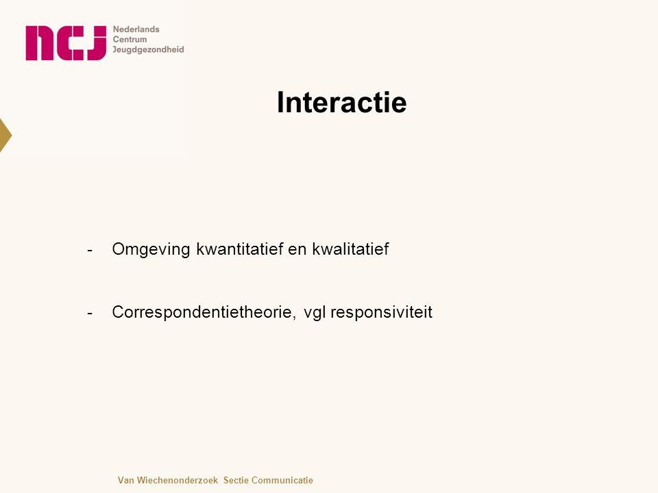 Interactie -Omgeving kwantitatief en kwalitatief -Correspondentietheorie, vgl responsiviteit Van Wiechenonderzoek Sectie Communicatie