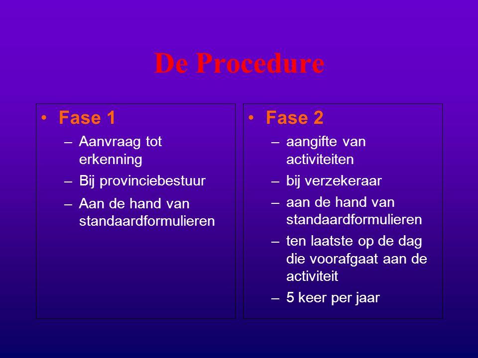 De Procedure Fase 1 –Aanvraag tot erkenning –Bij provinciebestuur –Aan de hand van standaardformulieren Fase 2 –aangifte van activiteiten –bij verzekeraar –aan de hand van standaardformulieren –ten laatste op de dag die voorafgaat aan de activiteit –5 keer per jaar