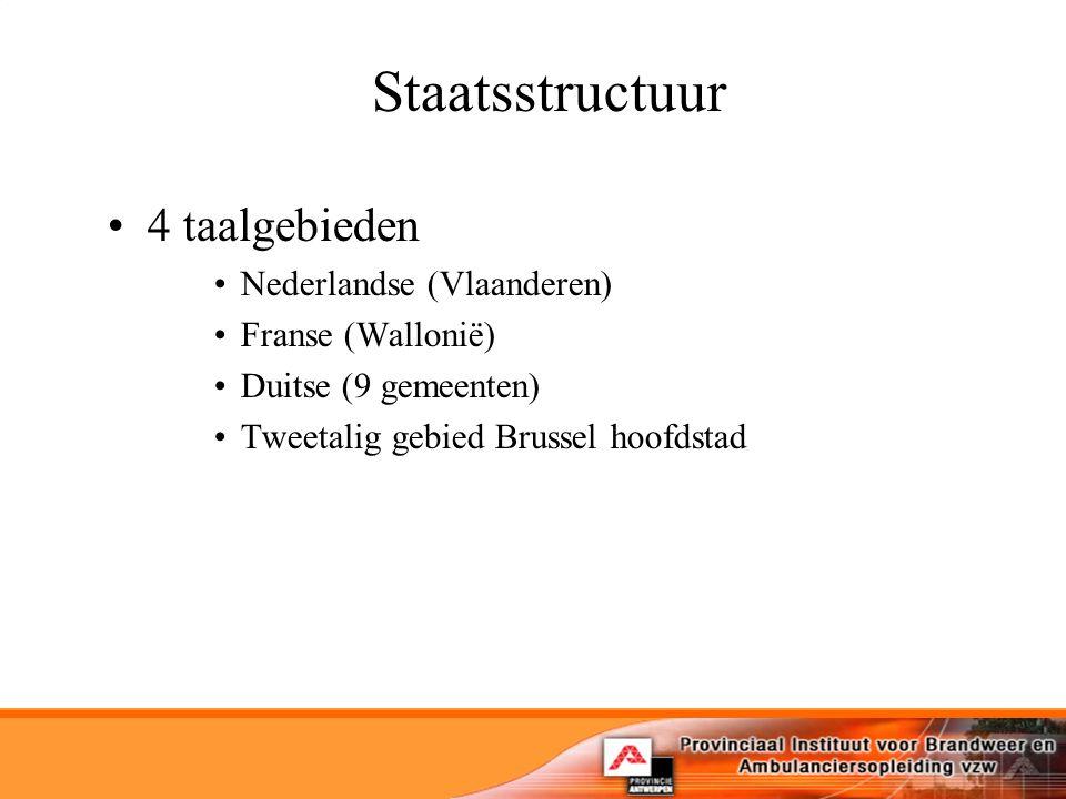 Staatsstructuur 4 taalgebieden Nederlandse (Vlaanderen) Franse (Wallonië) Duitse (9 gemeenten) Tweetalig gebied Brussel hoofdstad