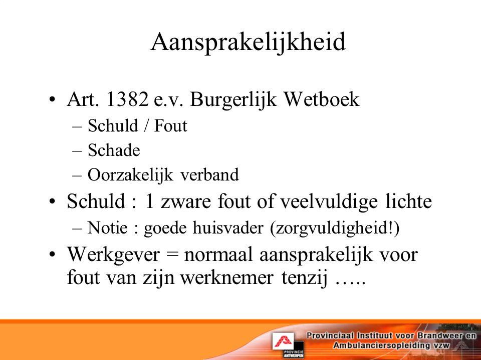 Aansprakelijkheid Art. 1382 e.v.