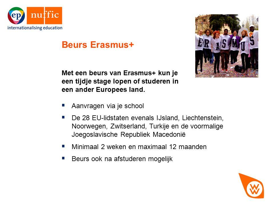 12 Met een beurs van Erasmus+ kun je een tijdje stage lopen of studeren in een ander Europees land. Beurs Erasmus+  Aanvragen via je school  De 28 E