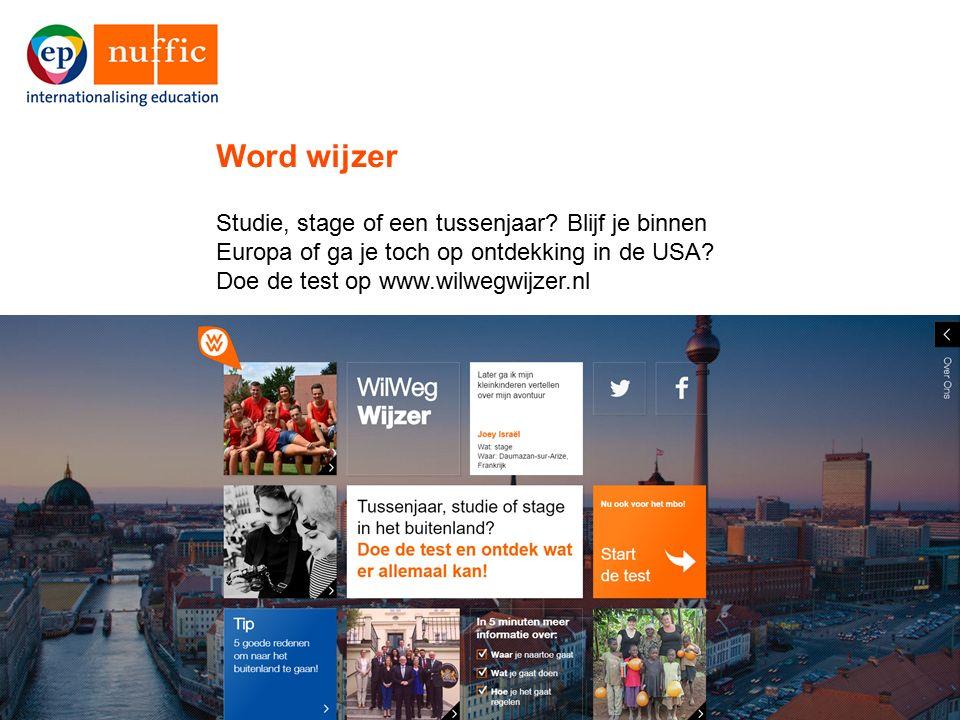 15 Studie, stage of een tussenjaar? Blijf je binnen Europa of ga je toch op ontdekking in de USA? Doe de test op www.wilwegwijzer.nl Word wijzer