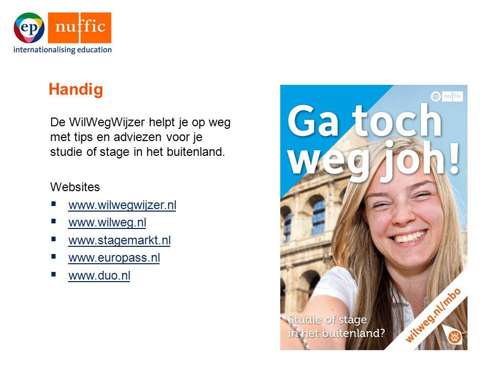 16 De WilWegWijzer helpt je op weg met tips en adviezen voor je studie of stage in het buitenland. Websites  www.wilwegwijzer.nl www.wilwegwijzer.nl