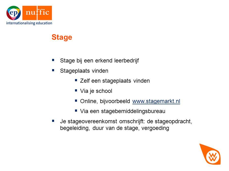 6  Stage bij een erkend leerbedrijf  Stageplaats vinden  Zelf een stageplaats vinden  Via je school  Online, bijvoorbeeld www.stagemarkt.nlwww.st