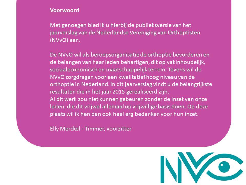 Voorwoord Met genoegen bied ik u hierbij de publieksversie van het jaarverslag van de Nederlandse Vereniging van Orthoptisten (NVvO) aan.