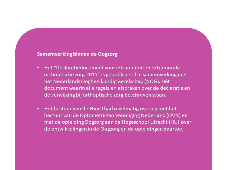 Samenwerking binnen de Oogzorg Het Declaratiedocument voor intramurale en extramurale orthoptische zorg 2015 is gepubliceerd in samenwerking met het Nederlands Oogheelkundig Gezelschap (NOG).