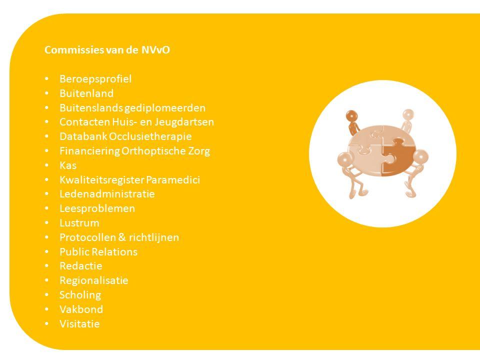 Commissies van de NVvO Beroepsprofiel Buitenland Buitenslands gediplomeerden Contacten Huis- en Jeugdartsen Databank Occlusietherapie Financiering Orthoptische Zorg Kas Kwaliteitsregister Paramedici Ledenadministratie Leesproblemen Lustrum Protocollen & richtlijnen Public Relations Redactie Regionalisatie Scholing Vakbond Visitatie