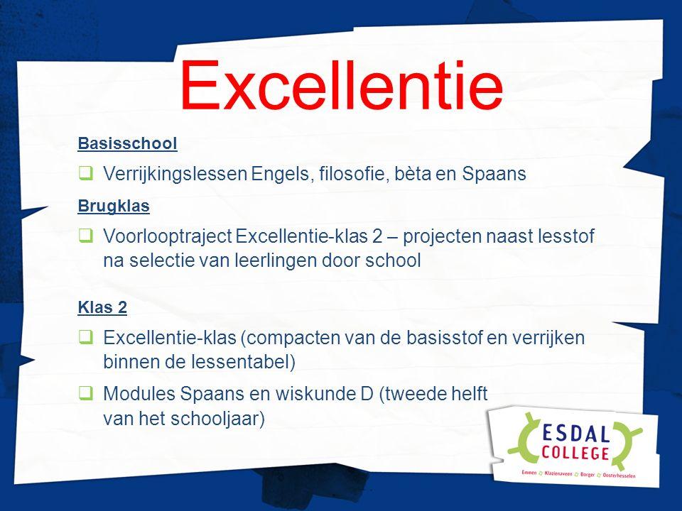 Excellentie Basisschool  Verrijkingslessen Engels, filosofie, bèta en Spaans Brugklas  Voorlooptraject Excellentie-klas 2 – projecten naast lesstof