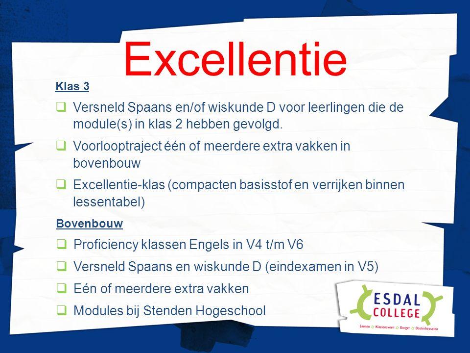 Excellentie Klas 3  Versneld Spaans en/of wiskunde D voor leerlingen die de module(s) in klas 2 hebben gevolgd.  Voorlooptraject één of meerdere ext
