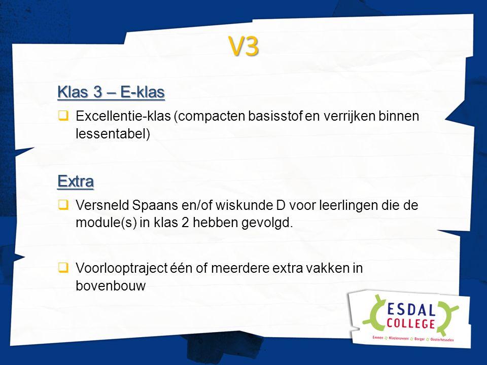 V3 Klas 3 – E-klas  Excellentie-klas (compacten basisstof en verrijken binnen lessentabel)Extra  Versneld Spaans en/of wiskunde D voor leerlingen di
