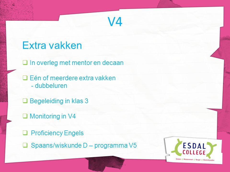 V4 Extra vakken  In overleg met mentor en decaan  Eén of meerdere extra vakken - dubbeluren  Begeleiding in klas 3  Monitoring in V4  Proficiency Engels  Spaans/wiskunde D – programma V5