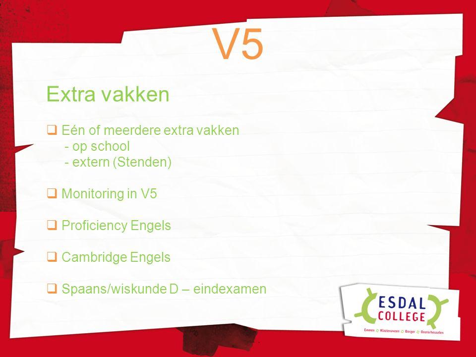 Extra vakken  Eén of meerdere extra vakken - op school - extern (Stenden)  Monitoring in V5  Proficiency Engels  Cambridge Engels  Spaans/wiskund