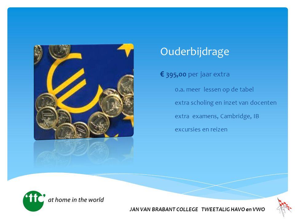 Ouderbijdrage € 395,00 per jaar extra 0.a. meer lessen op de tabel extra scholing en inzet van docenten extra examens, Cambridge, IB excursies en reiz