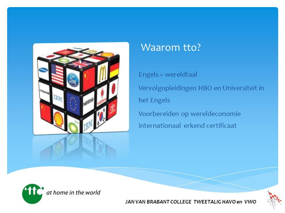 Waarom tto? Engels = wereldtaal Vervolgopleidingen HBO en Universiteit in het Engels Voorbereiden op wereldeconomie internationaal erkend certificaat
