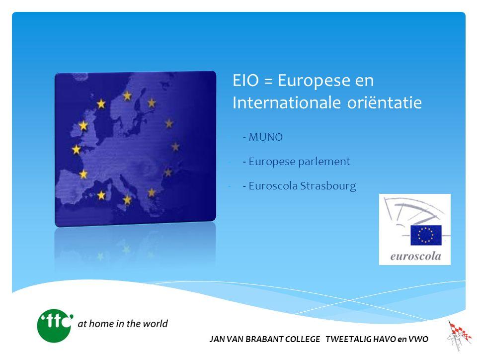 EIO = Europese en Internationale oriëntatie -- MUNO -- Europese parlement -- Euroscola Strasbourg JAN VAN BRABANT COLLEGE TWEETALIG HAVO en VWO