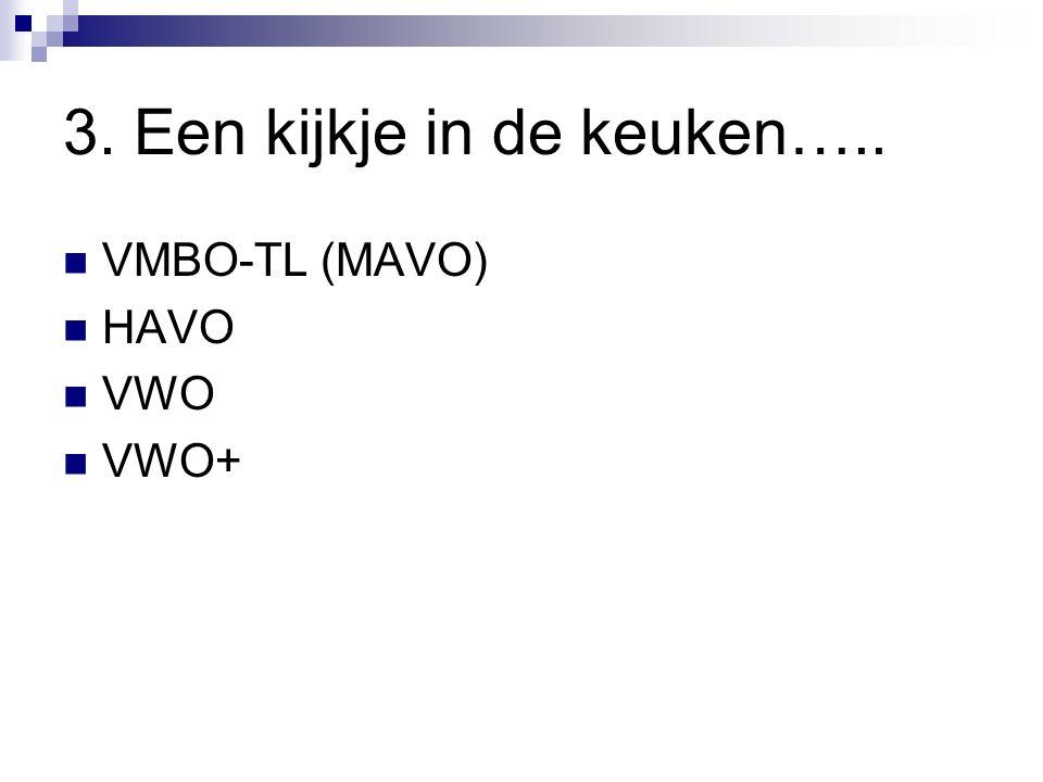 3. Een kijkje in de keuken….. VMBO-TL (MAVO) HAVO VWO VWO+