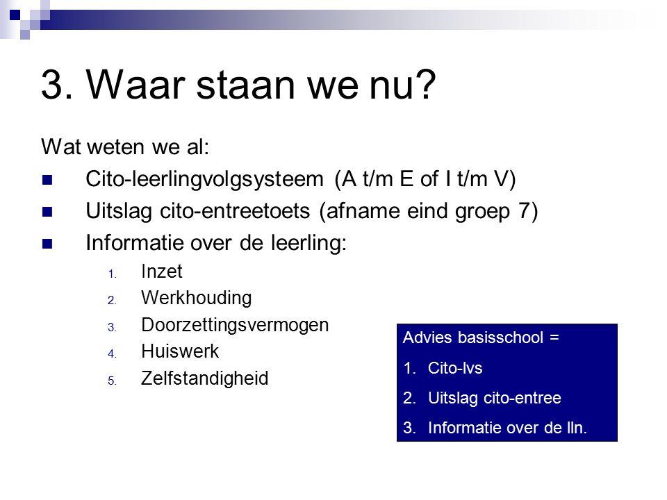 3. Waar staan we nu? Wat weten we al: Cito-leerlingvolgsysteem (A t/m E of I t/m V) Uitslag cito-entreetoets (afname eind groep 7) Informatie over de