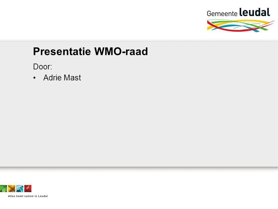 Presentatie WMO-raad Door: Adrie Mast