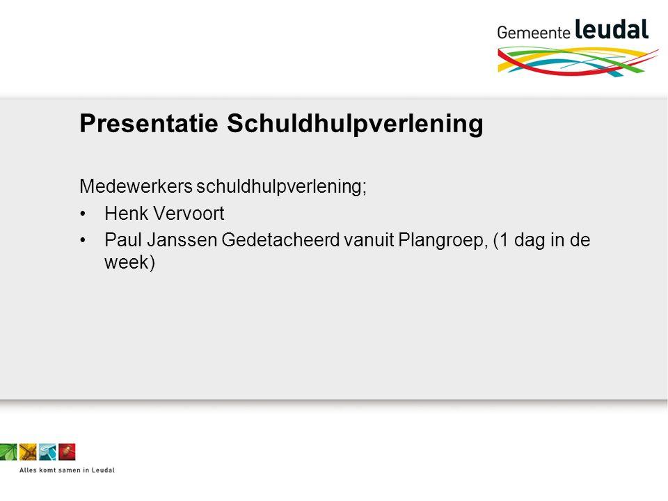 Presentatie Schuldhulpverlening Medewerkers schuldhulpverlening; Henk Vervoort Paul Janssen Gedetacheerd vanuit Plangroep, (1 dag in de week)