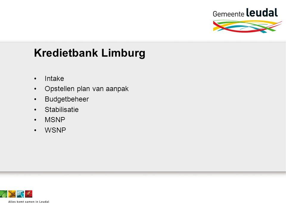 Kredietbank Limburg Intake Opstellen plan van aanpak Budgetbeheer Stabilisatie MSNP WSNP