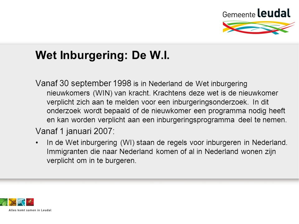 Wet Inburgering: De W.I.
