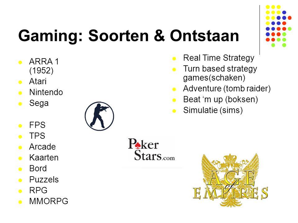 Gaming: Soorten & Ontstaan ARRA 1 (1952) Atari Nintendo Sega FPS TPS Arcade Kaarten Bord Puzzels RPG MMORPG Real Time Strategy Turn based strategy gam