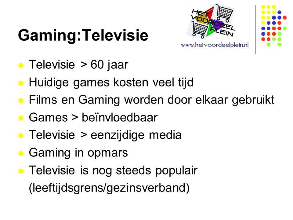 Gaming:Televisie Televisie > 60 jaar Huidige games kosten veel tijd Films en Gaming worden door elkaar gebruikt Games > beïnvloedbaar Televisie > eenzijdige media Gaming in opmars Televisie is nog steeds populair (leeftijdsgrens/gezinsverband)