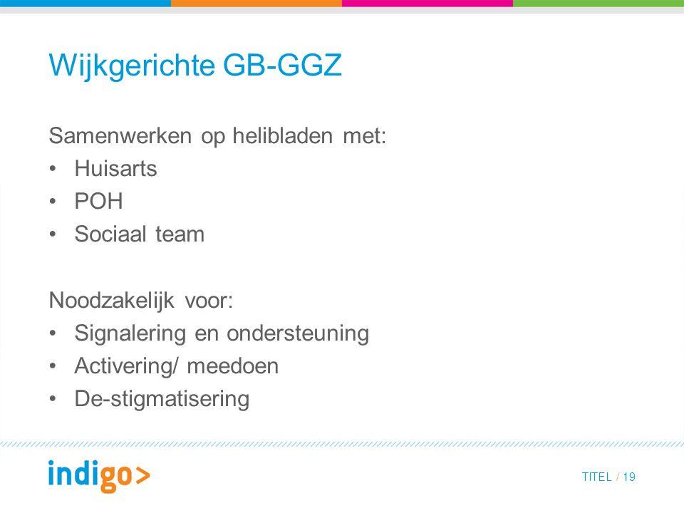 Wijkgerichte GB-GGZ Samenwerken op helibladen met: Huisarts POH Sociaal team Noodzakelijk voor: Signalering en ondersteuning Activering/ meedoen De-stigmatisering TITEL / 19