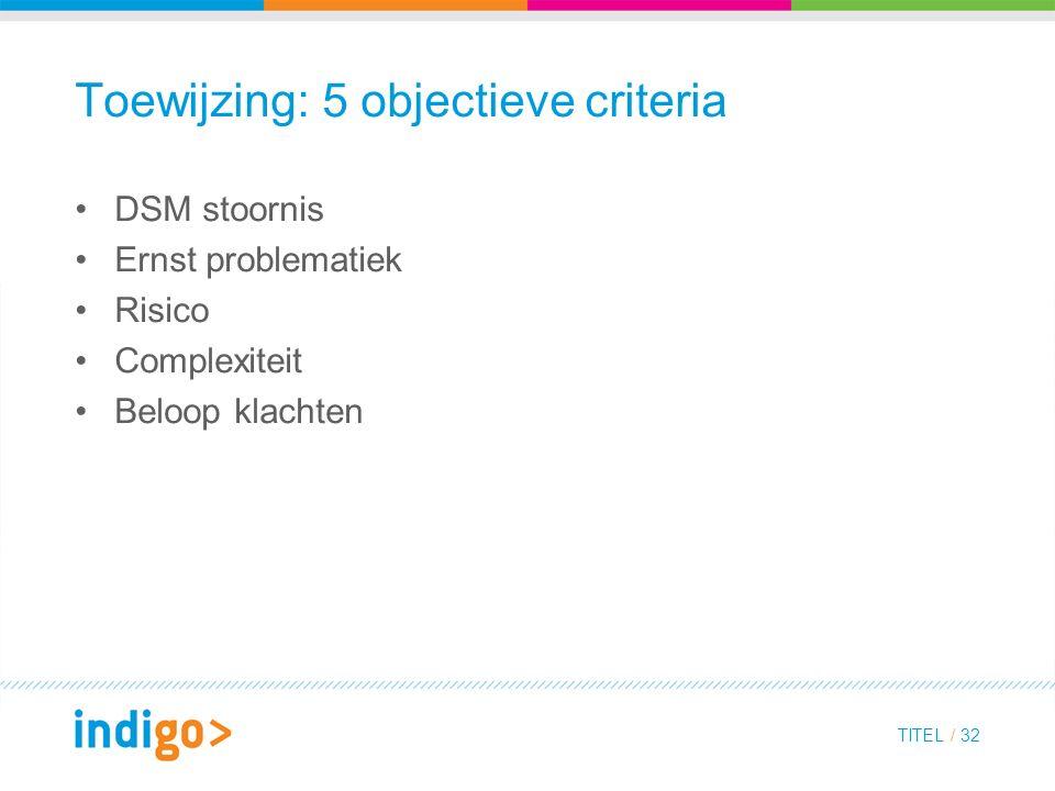 Toewijzing: 5 objectieve criteria DSM stoornis Ernst problematiek Risico Complexiteit Beloop klachten TITEL / 32