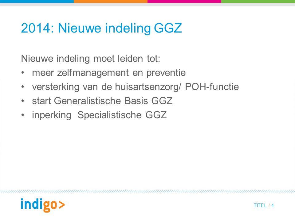 2014: Nieuwe indeling GGZ Nieuwe indeling moet leiden tot: meer zelfmanagement en preventie versterking van de huisartsenzorg/ POH-functie start Generalistische Basis GGZ inperking Specialistische GGZ TITEL / 4