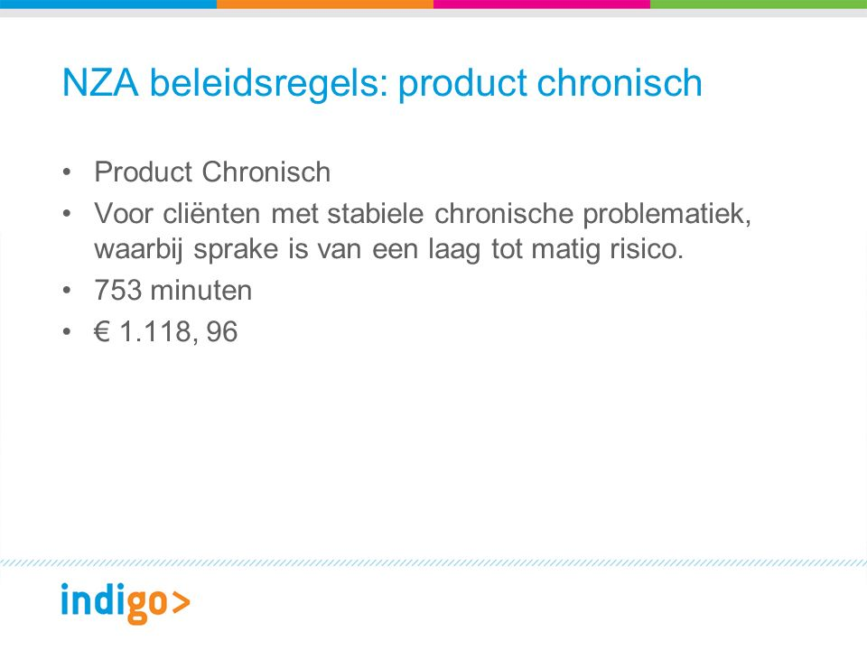 NZA beleidsregels: product chronisch Product Chronisch Voor cliënten met stabiele chronische problematiek, waarbij sprake is van een laag tot matig risico.