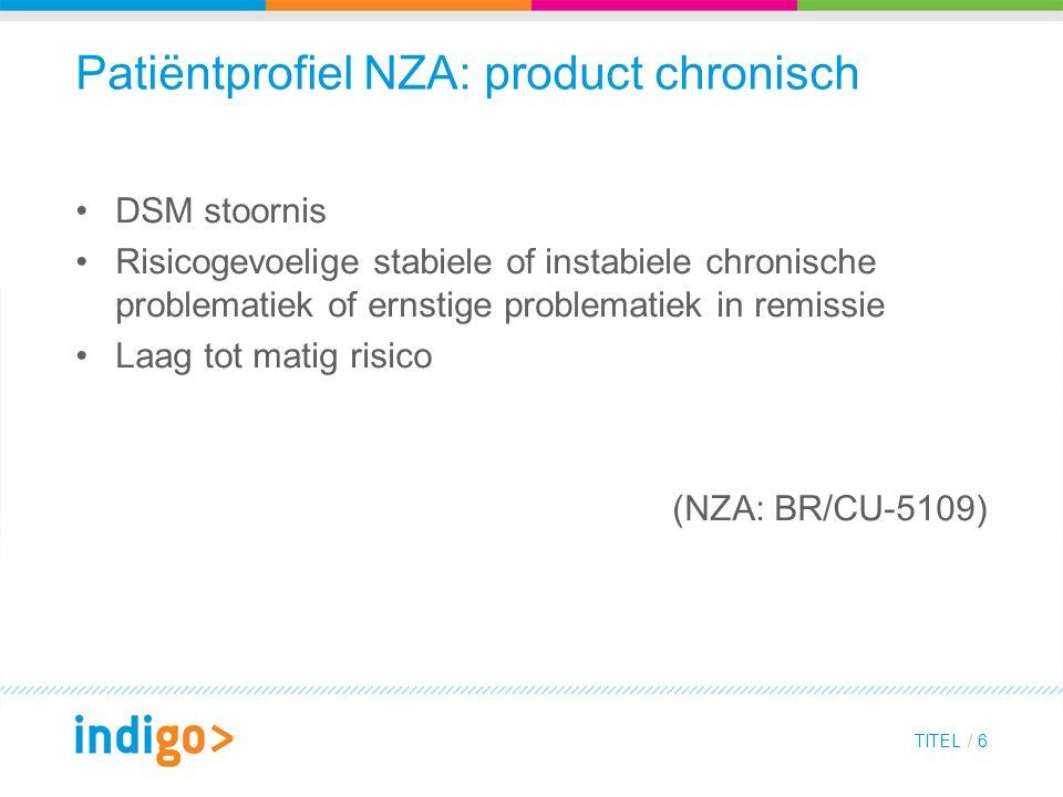 Patiëntprofiel NZA: product chronisch DSM stoornis Risicogevoelige stabiele of instabiele chronische problematiek of ernstige problematiek in remissie Laag tot matig risico (NZA: BR/CU-5109) TITEL / 6