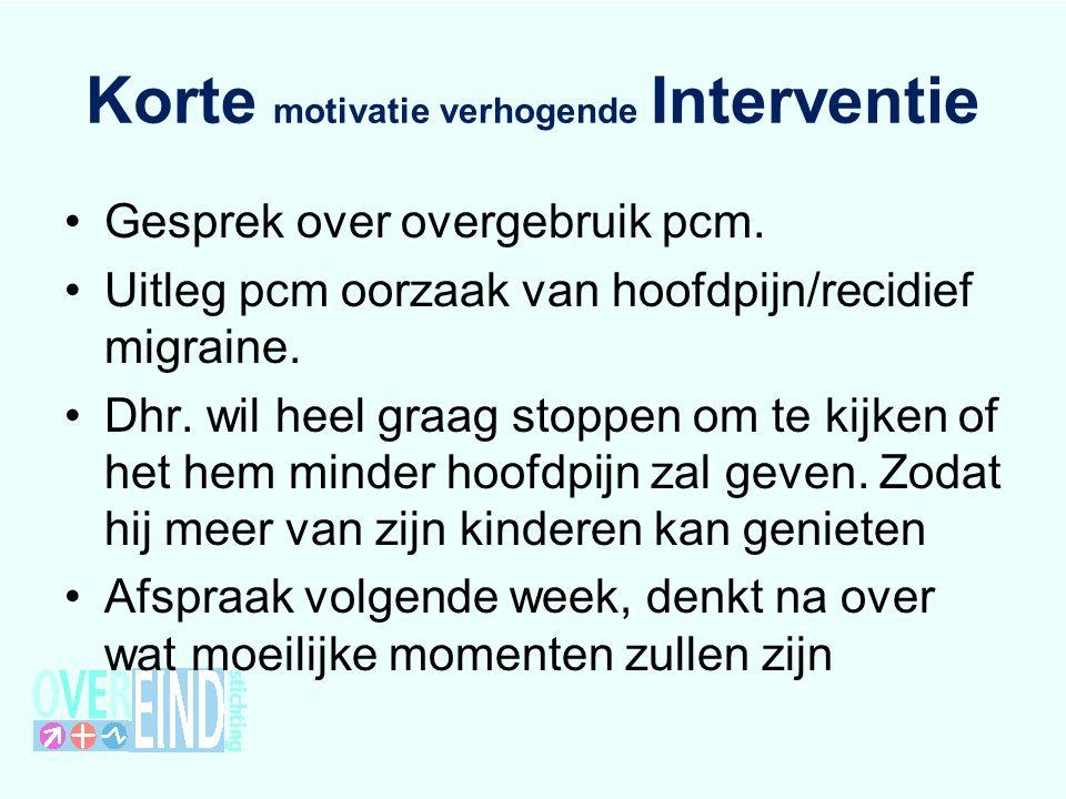 Korte motivatie verhogende Interventie Gesprek over overgebruik pcm.