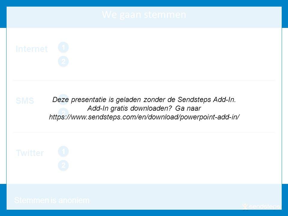 www.sendsteps.com We gaan stemmen 16 SMS 1 1 2 2 Internet 1 1 2 2 Twitter 1 1 2 2 Stemmen is anoniem Deze presentatie is geladen zonder de Sendsteps Add-In.