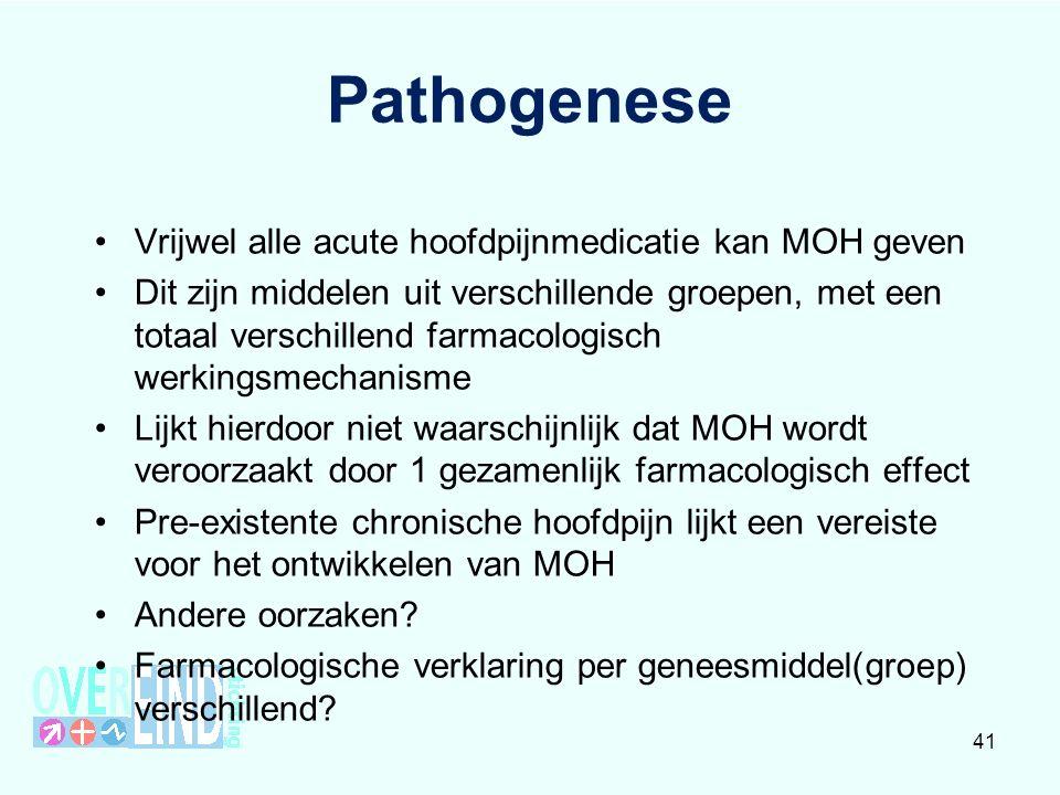 Erfelijkheid Risico op MOH groter bij patiënten met een familie- anamnese positief voor MOH (Cevioli et al 2009) Risico op MOH groter bij patiënten met een familie- anamnese positief voor misbruik andere (genees)middelen ( Cevioli et al 2009 ) Aantal studies waarin genetische aanknopingspunten zijn gevonden (Cevioli et al 2006, Di Lorenzo et al 2007, 2009) 42