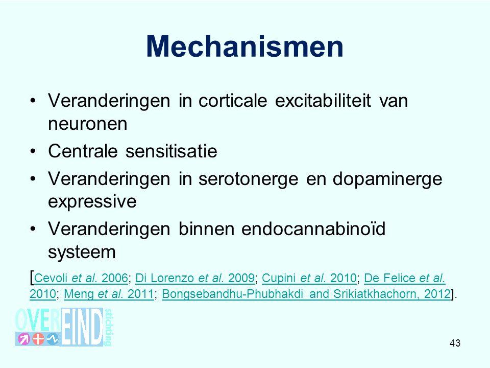 Mechanismen Veranderingen in corticale excitabiliteit van neuronen Centrale sensitisatie Veranderingen in serotonerge en dopaminerge expressive Veranderingen binnen endocannabinoïd systeem [ Cevoli et al.