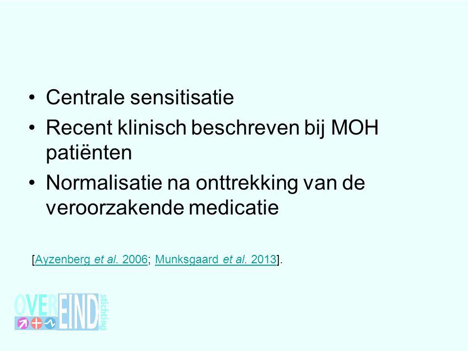 Centrale sensitisatie Recent klinisch beschreven bij MOH patiënten Normalisatie na onttrekking van de veroorzakende medicatie [Ayzenberg et al.