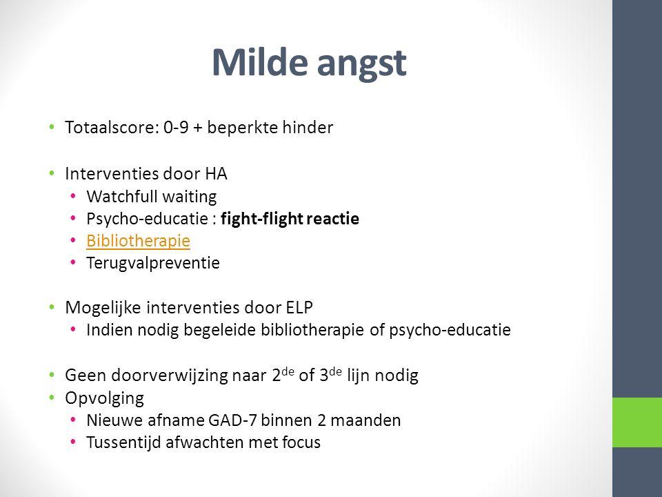 Milde angst Totaalscore: 0-9 + beperkte hinder Interventies door HA Watchfull waiting Psycho-educatie : fight-flight reactie Bibliotherapie Terugvalpr