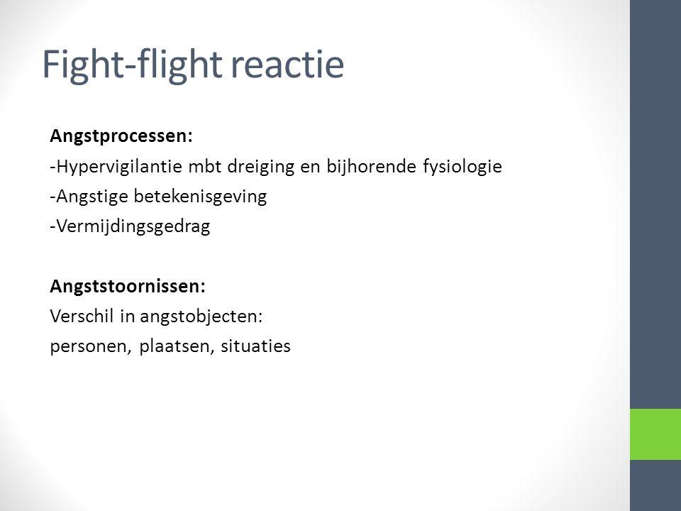 Fight-flight reactie Angstprocessen: -Hypervigilantie mbt dreiging en bijhorende fysiologie -Angstige betekenisgeving -Vermijdingsgedrag Angststoornissen: Verschil in angstobjecten: personen, plaatsen, situaties