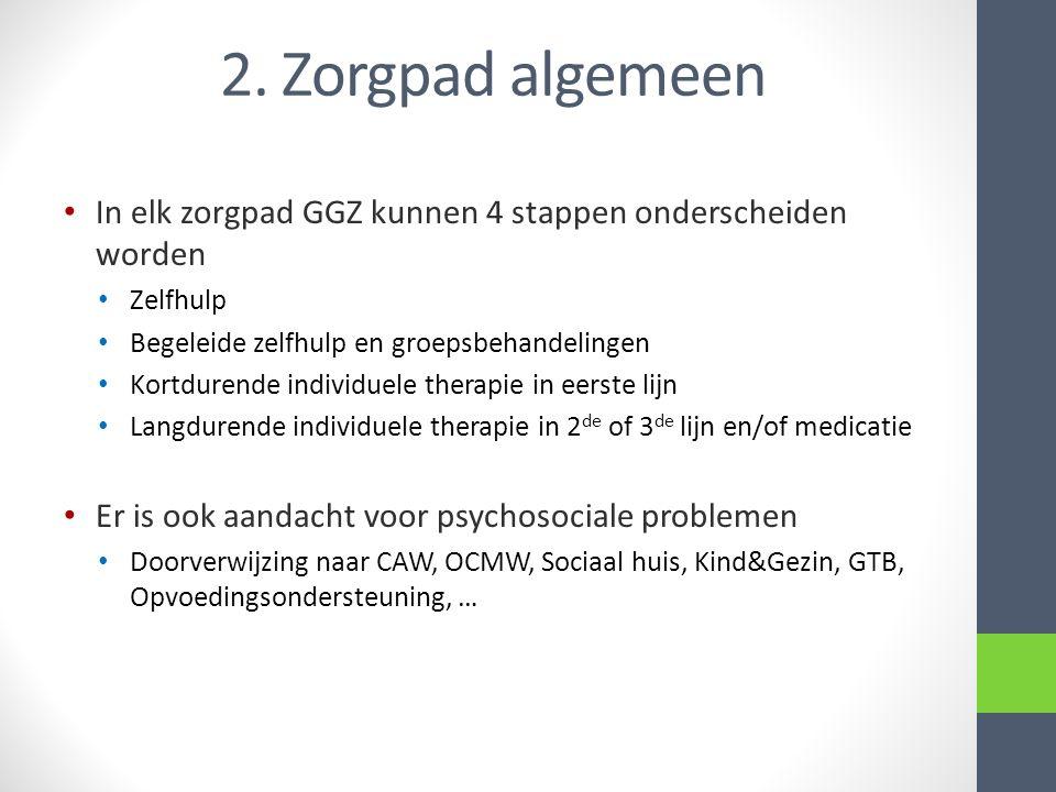 2. Zorgpad algemeen In elk zorgpad GGZ kunnen 4 stappen onderscheiden worden Zelfhulp Begeleide zelfhulp en groepsbehandelingen Kortdurende individuel