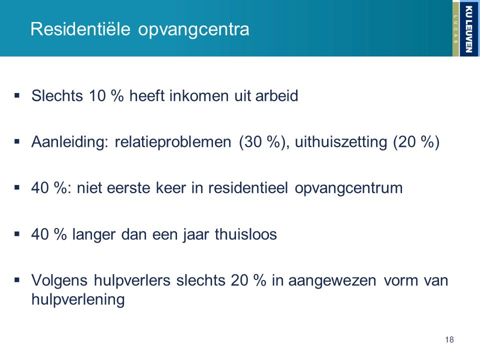 Residentiële opvangcentra  Slechts 10 % heeft inkomen uit arbeid  Aanleiding: relatieproblemen (30 %), uithuiszetting (20 %)  40 %: niet eerste kee