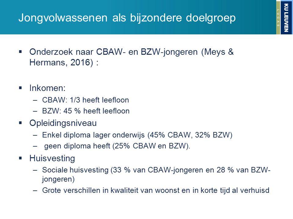 Jongvolwassenen als bijzondere doelgroep  Onderzoek naar CBAW- en BZW-jongeren (Meys & Hermans, 2016) :  Inkomen: –CBAW: 1/3 heeft leefloon –BZW: 45 % heeft leefloon  Opleidingsniveau –Enkel diploma lager onderwijs (45% CBAW, 32% BZW) – geen diploma heeft (25% CBAW en BZW).