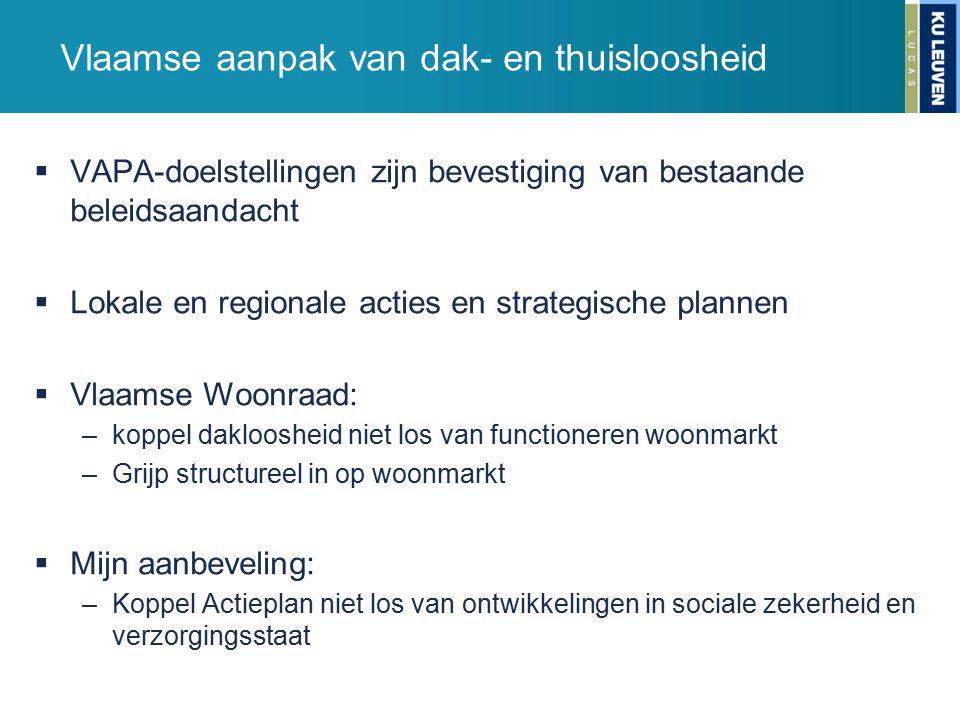 Vlaamse aanpak van dak- en thuisloosheid  VAPA-doelstellingen zijn bevestiging van bestaande beleidsaandacht  Lokale en regionale acties en strategi