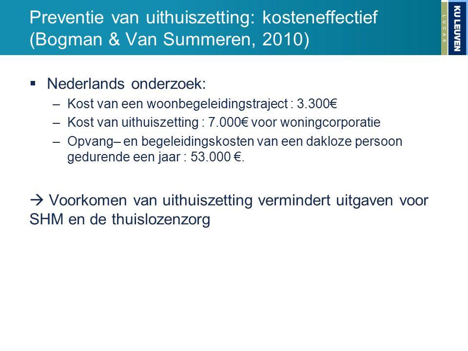 Preventie van uithuiszetting: kosteneffectief (Bogman & Van Summeren, 2010)  Nederlands onderzoek: –Kost van een woonbegeleidingstraject : 3.300€ –Kost van uithuiszetting : 7.000€ voor woningcorporatie –Opvang– en begeleidingskosten van een dakloze persoon gedurende een jaar : 53.000 €.